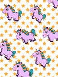 cute cartoon unicorn pattern and star background