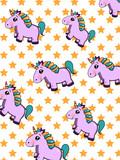 cute cartoon unicorn pattern and star background