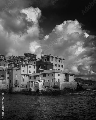 Fotobehang Liguria Boccadasse BW