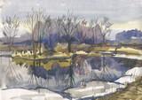river spring watercolor