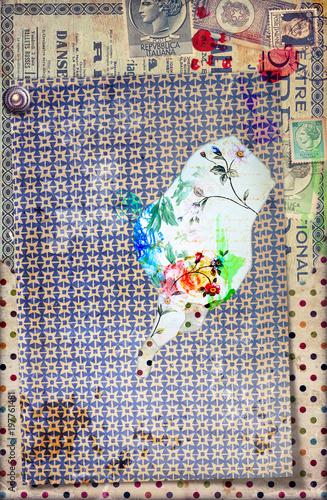 Fotobehang Imagination Sfondo con graffiti,simboli,disegni ritagli,patchwork e collage