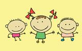 Cute cartoon kids, girl and boy - 197764084