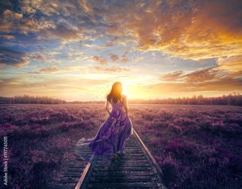 Woman in colorful dress walking