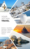 Photo collage Greece. Greek Islands. Santorini, Mykonos. Travel concept