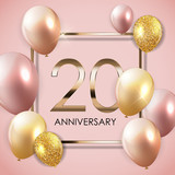 Template 20 Years Anniversary Background with Balloons Vector Illustration - 197771838