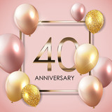 Template 40 Years Anniversary Background with Balloons Vector Illustration - 197772002