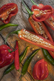 Hot and spicy chili peppers poster