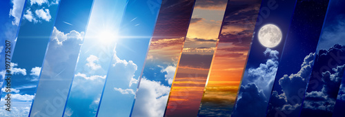 Weather forecast wide banner, day and night