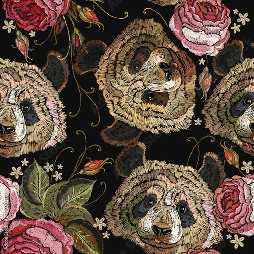 Embroidery panda and roses flowers seamless pattern. Fashion template for clothes, textiles, t-shirt design. Classical embroidery portrait of funny panda bear and spring flowers pattern