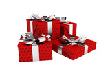 Gifts of four in a paper red label with a bow gray in front 3d render on a white background no shadow