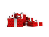Gifts of four in a red paper label with a bow gray front from the bottom 3d render on a white background no shadow