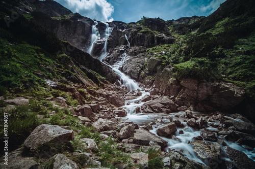 Foto op Plexiglas Zwart Siklawa, the biggest polish waterfall