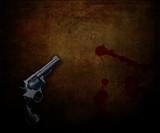 3D handgun on a grunge background with blood splatters