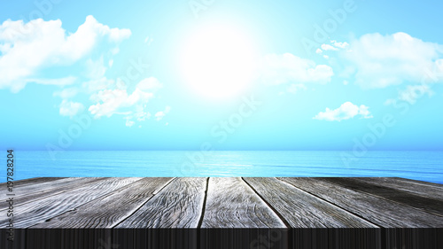Fotobehang Pool 3D vintage wooden table looking out to an ocean landscape