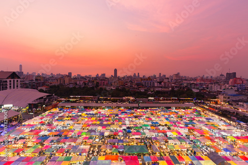 Night multiple colour aerial view with after sunset tone cityscape background Poster