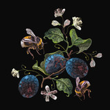 Embroidery plum branch and bumblebee. Classical embroidery blossoming plum on black background, template fashionable clothes, t-shirt design - 197831067