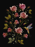 Embroidery humming bird and roses, classical embroidery birds and rose flowers with dew drops on black background. Fashion template for clothes, textile t-shirt design - 197831480
