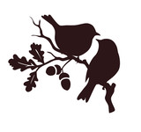 Pare of birds sitting on twig of oak. Decorative vector silhouette.  - 197832668
