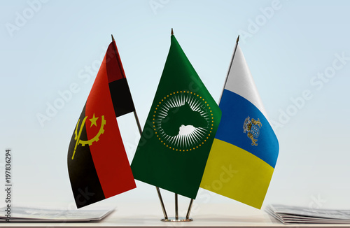 Deurstickers Canarische Eilanden Flags of Angola African Union and Canary Islands
