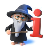 3d Funny cartoon wizard magician points to an information symbol with his magic wand