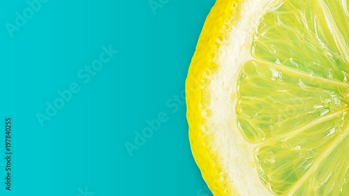 Flat lay picture of macro fresh slice of  lemon on cyan background - 197840255