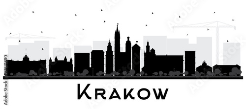 Kraków Polska sylwetka panoramę miasta z czarnymi budynkami na białym tle.