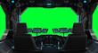 Leinwandbild Motiv Spaceship grunge interior window isolated