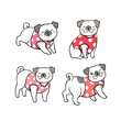 Vector illustration set character design cute pug dog Doodle style