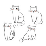 Vector illustration character design outline of cat Draw doodle style
