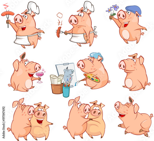 Foto op Plexiglas Babykamer Set of Cartoon Illustration. Cute Pigs in Different Poses for you Design. Cartoon Character
