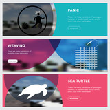 sea turtle, weaving, panic horizontal webpage banners template design concept on abstract background with green,blue,red, flat modern isolated vector icons illustration.