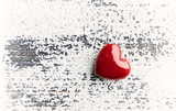 Red Heart on rustic wooden background - 197863079