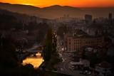 Sunset over city of Sarajevo