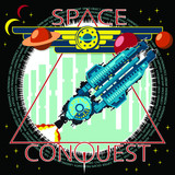 T-shirt or poster illustration. The spacecraft takes off against the background of the city. Background, text and planets are located on separate layers and can be easily disabled.