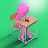 学校でスマホを操作する 3dcgキャラクター - 197877679