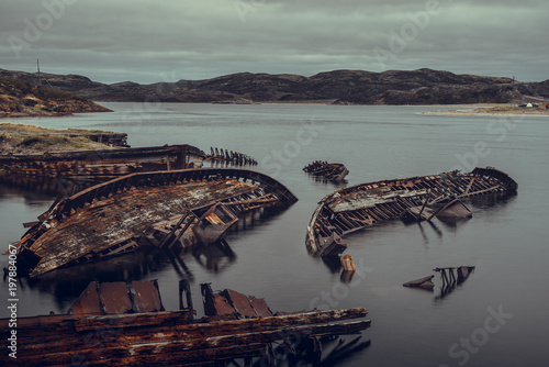 Foto op Plexiglas Schip Old wooden boat in Teriberka, Murmansk region