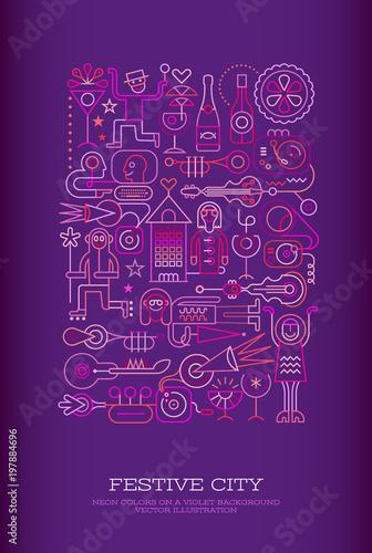 Plexiglas Abstractie Art Festive City vector illustration