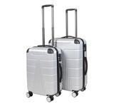 Gray suitcase isolated on white background. Polycarbonate suitcase isolated on white. Gray suitcase.