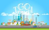 Modern cityscape with cars. Vector city panarama with logo. Go travel