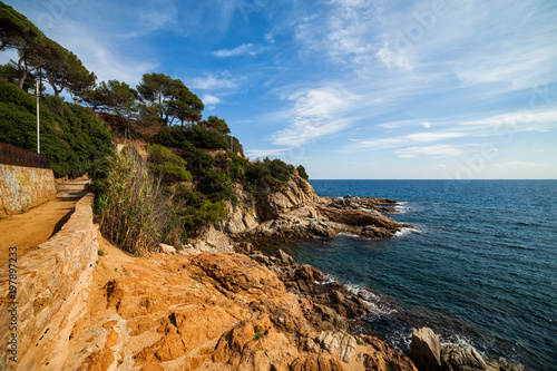 Coastline of Mediterranean Sea in Lloret de Mar on Costa Brava in Spain