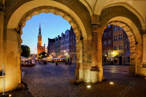 Evening in Old Town of Gdansk in Poland