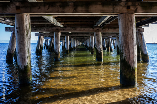 Under Sopot Pier on Baltic Sea in Poland