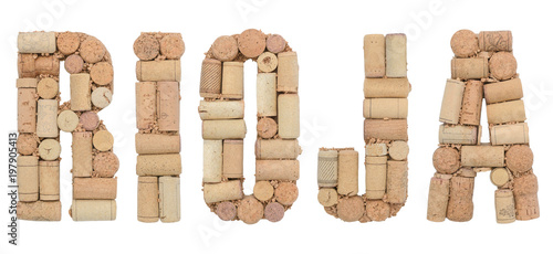 Grape variety Rioja made of wine corks Isolated on white background