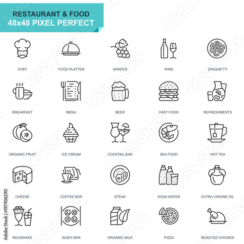 Simple Set Restaurant and Food Line Icons for Website and Mobile Apps. Contains such Icons as Fast Food, Menu, Organic Fruit, Coffee Bar. 48x48 Pixel Perfect. Editable Stroke. Vector illustration. - 197906290
