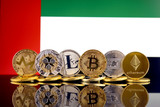 Physical version of Cryptocurrencies (Monero, Ripple, Litecoin, Bitcoin, Dash, Ethereum) and United Arab Emirates Flag.