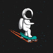 Little astronaut rides on skateboard through the universe.Space vector illustration.Prints design
