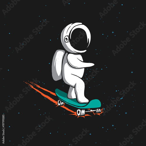 Fotobehang Skateboard Little astronaut rides on skateboard through the universe.Space vector illustration.Prints design