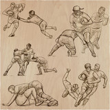 RUGBY - An hand drawn vector collection. Line art pack of some sportmen. - 197914423