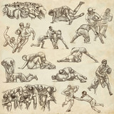 RUGBY - An hand drawn freehand collection. Line art pack of some sportmen on old paper. - 197914825