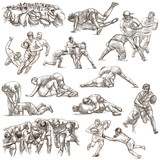 RUGBY - An hand drawn freehand collection. Line art pack of some sportmen on white. Isolated. - 197914884